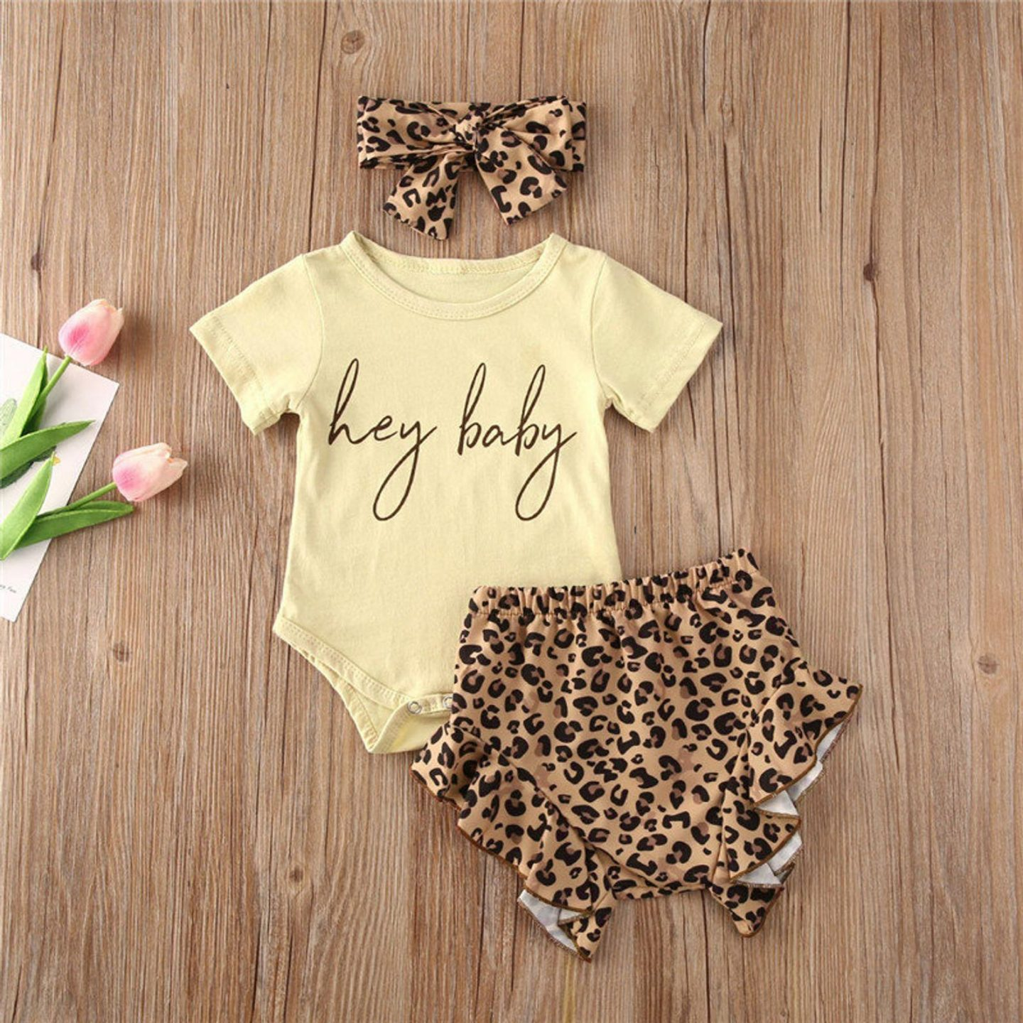 Cute baby clothes for babies with a leopard print