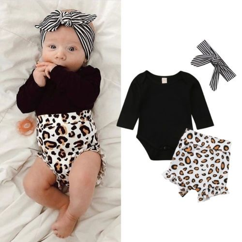 Cute baby clothes for newborns with a leopard print