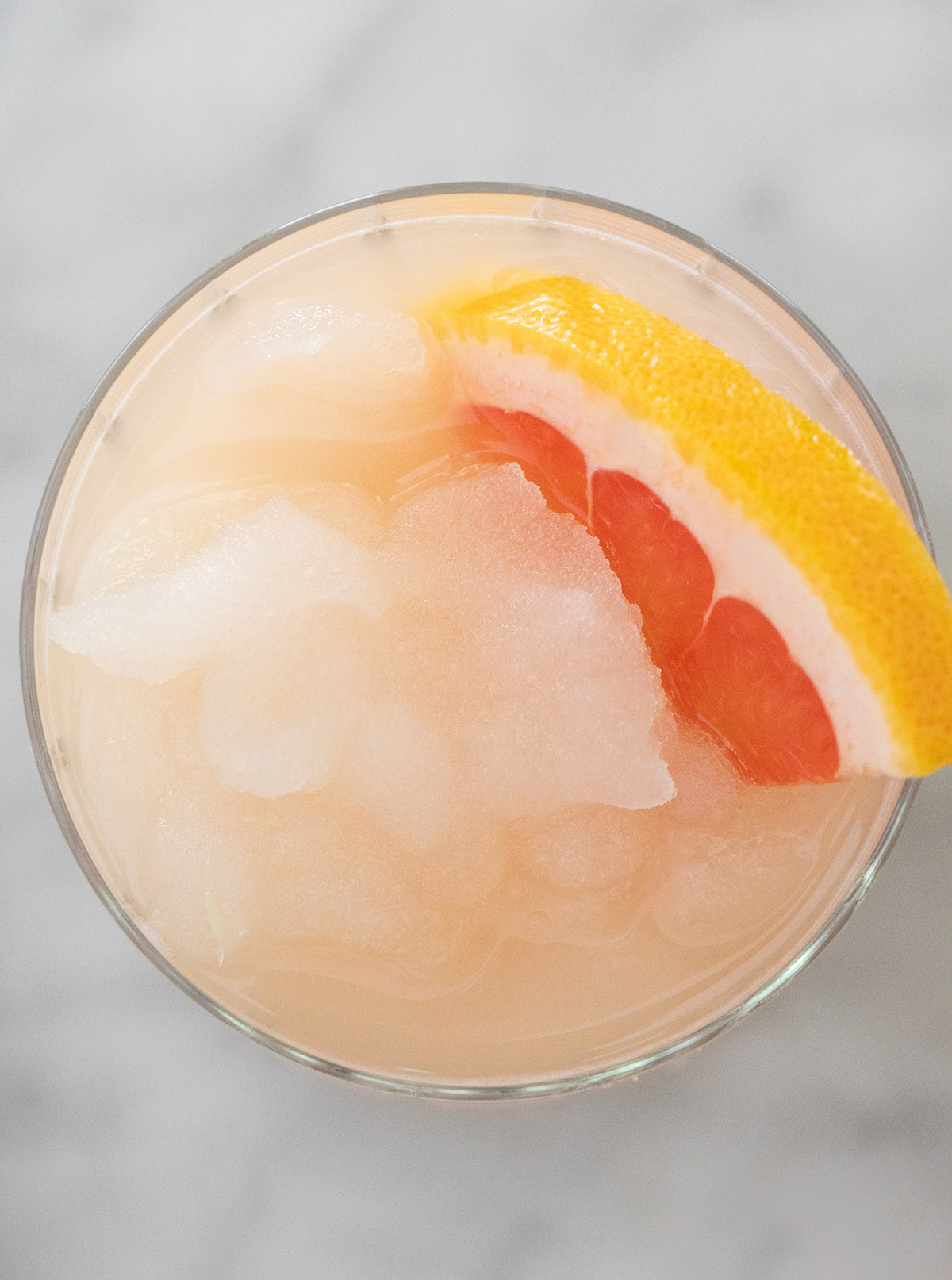 Frozen photo of Paloma cocktail from above