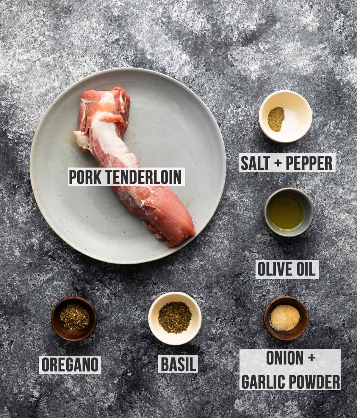 Top view of the ingredients for making pork tenderloin in the deep fryer (with labels)