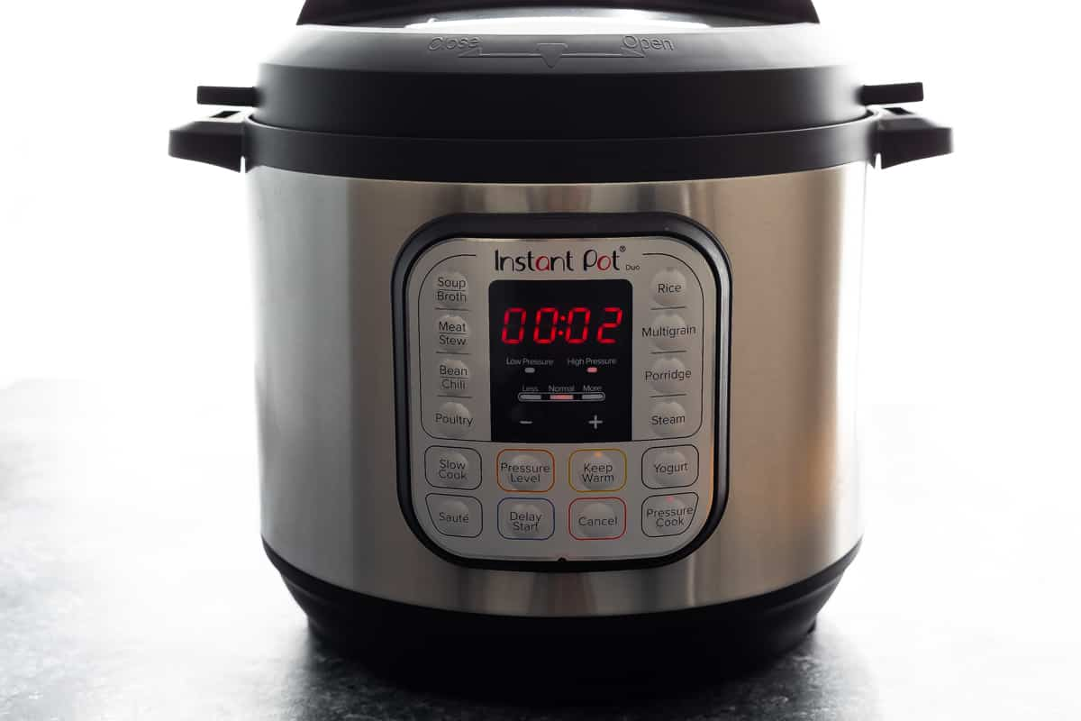 Instant Pot with 2 minutes on the timer