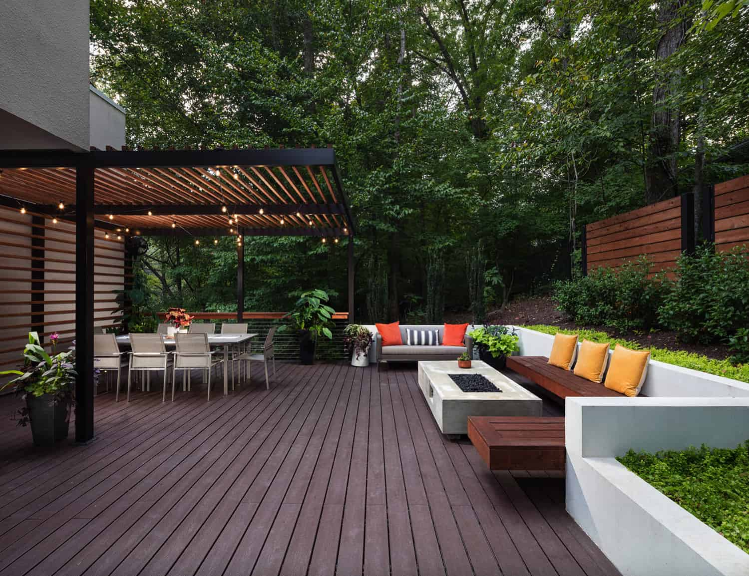 Deck with pergola covered dining area