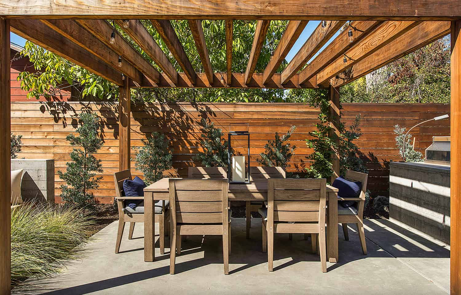 open dining room covered with pergola