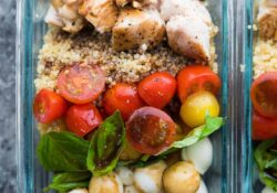 Caprese Chicken Salad Preparation Bowls