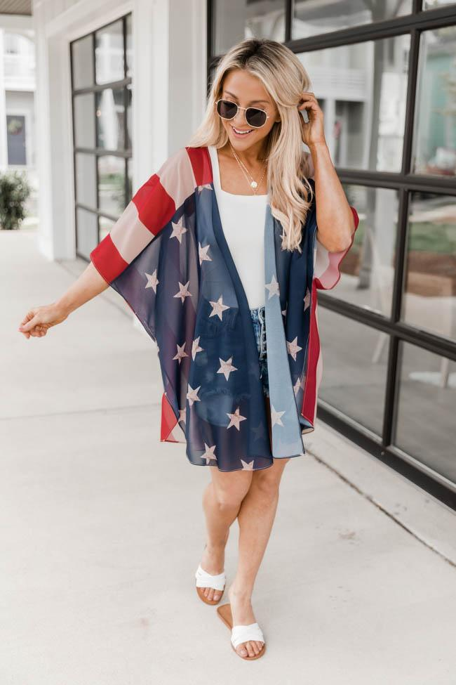 Cute casual outfit from July 4th with a kimono