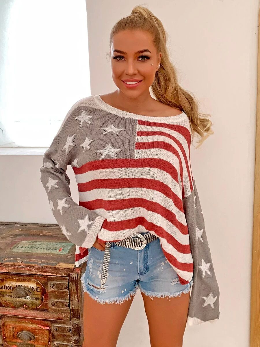 Cute casual outfit from July 4th with sweaters and shorts
