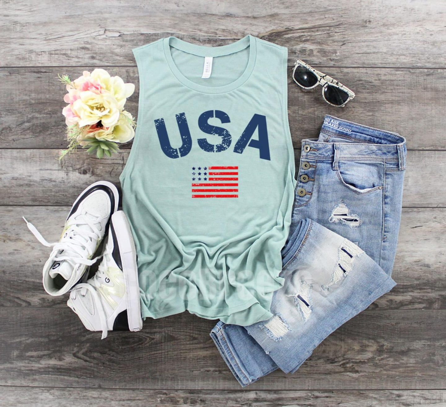 Mint green American flag above
