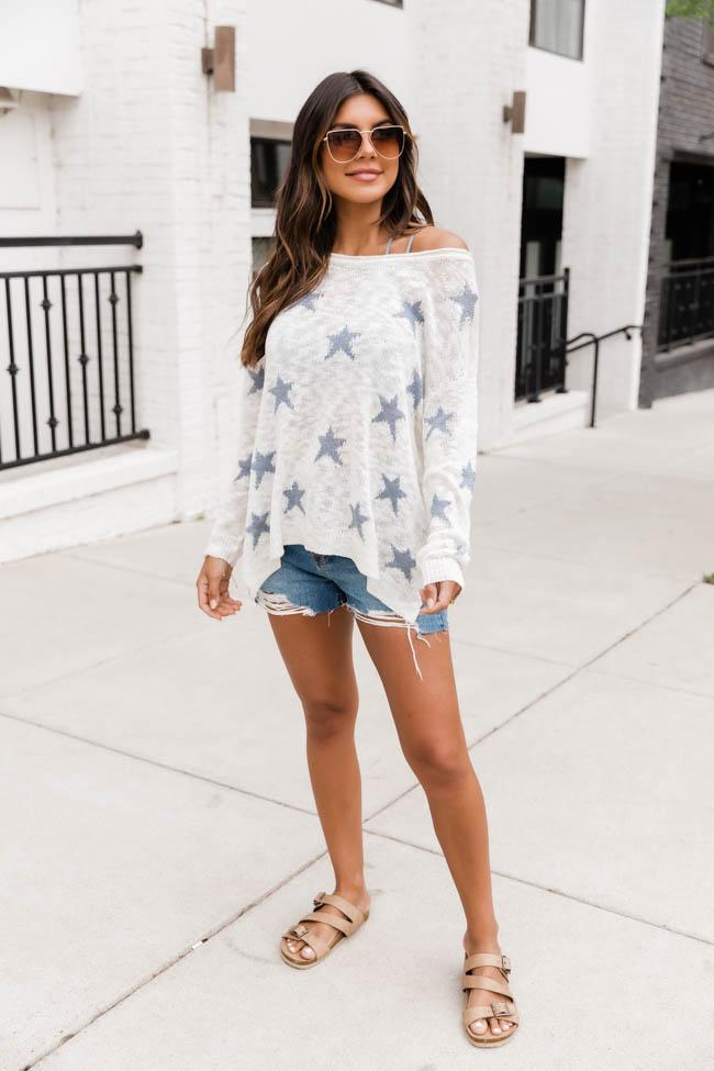 The cute, casual outfit from July 4th with a sweater