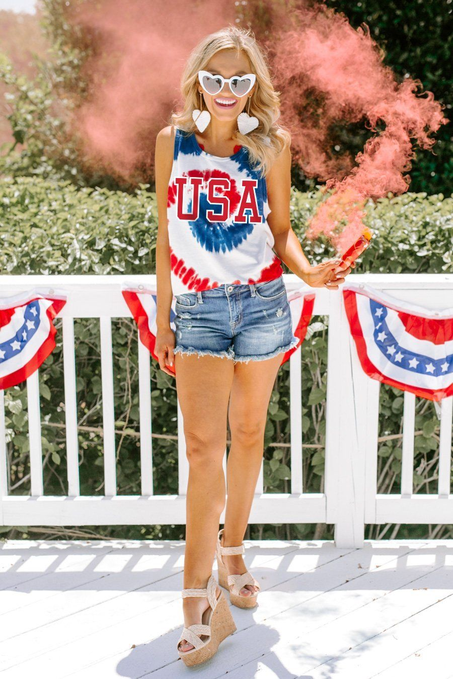 Cute casual tie-dye with outfit shorts from July 4th