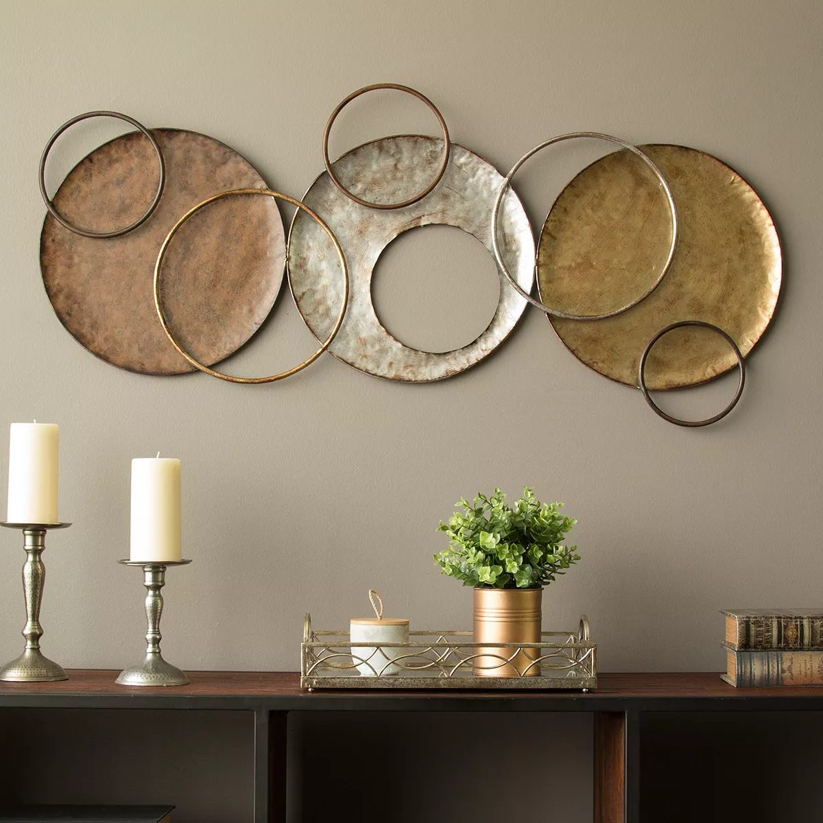 copper and gold metallic wall art