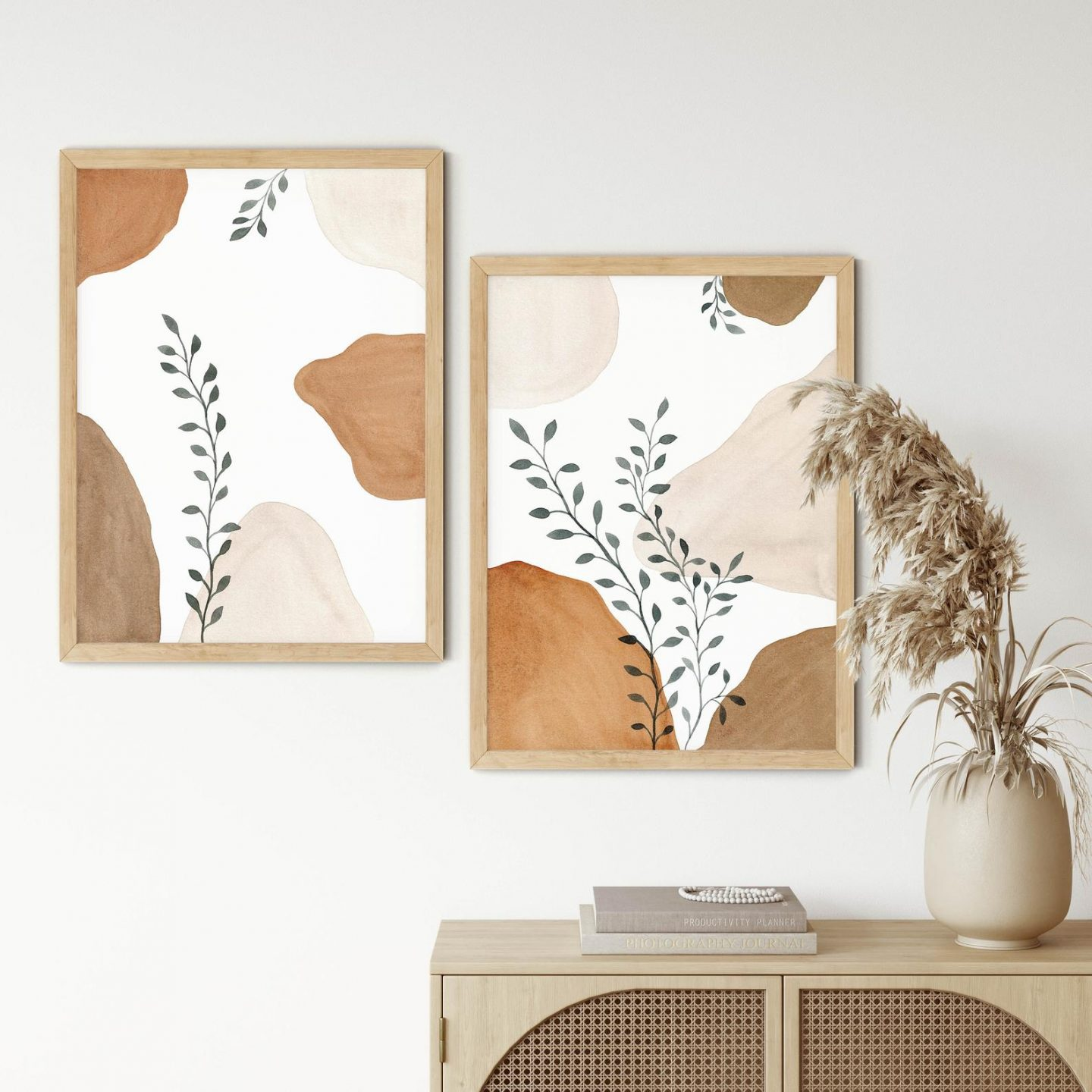 Peaceful bohemian wall art with leaves