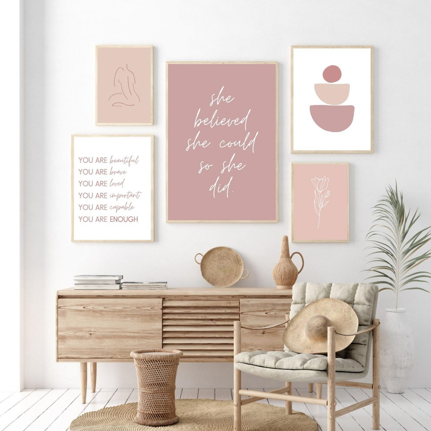 pink and feminine wall decor posters