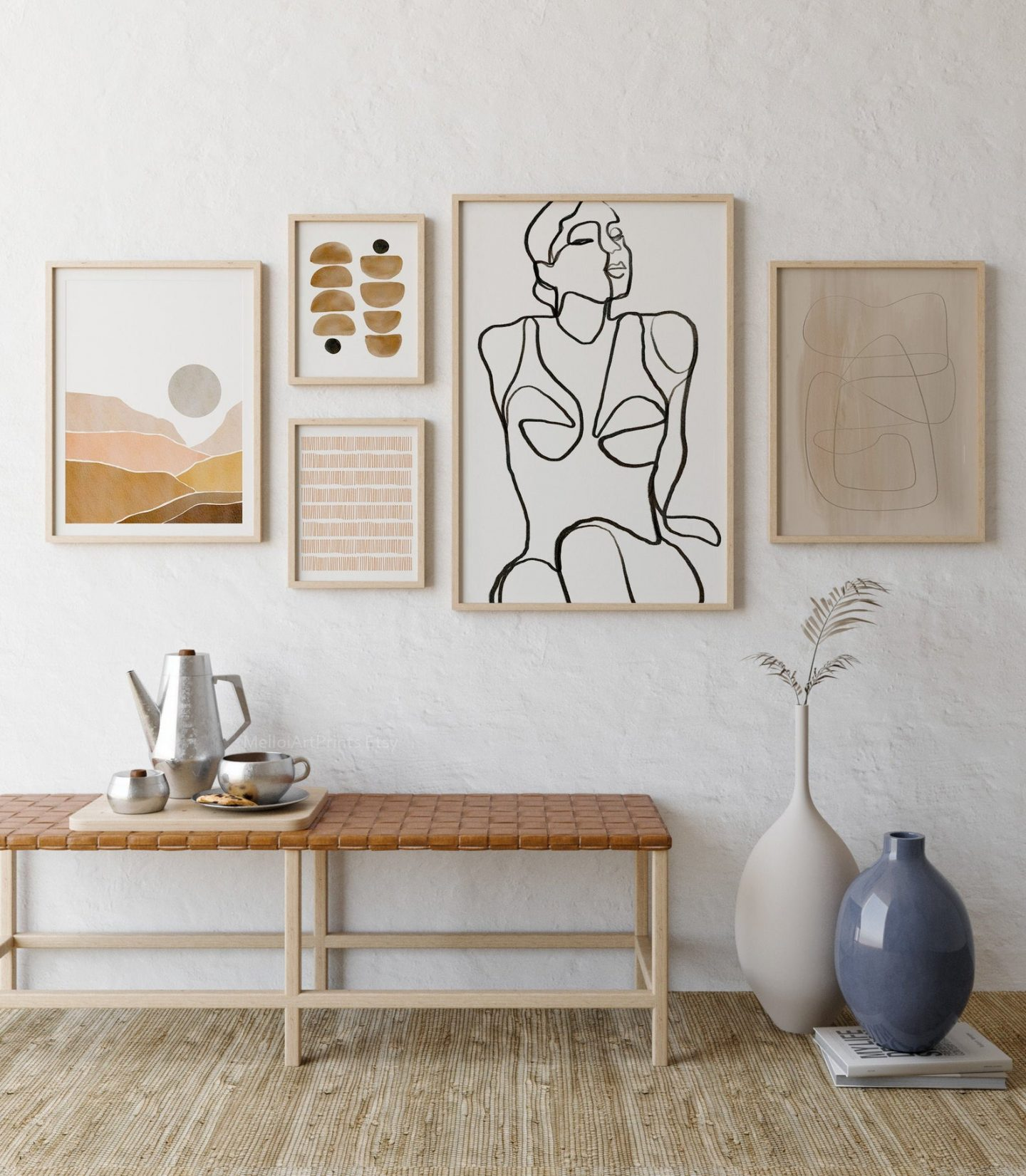 Nude and brown abstract wall decoration with female figures