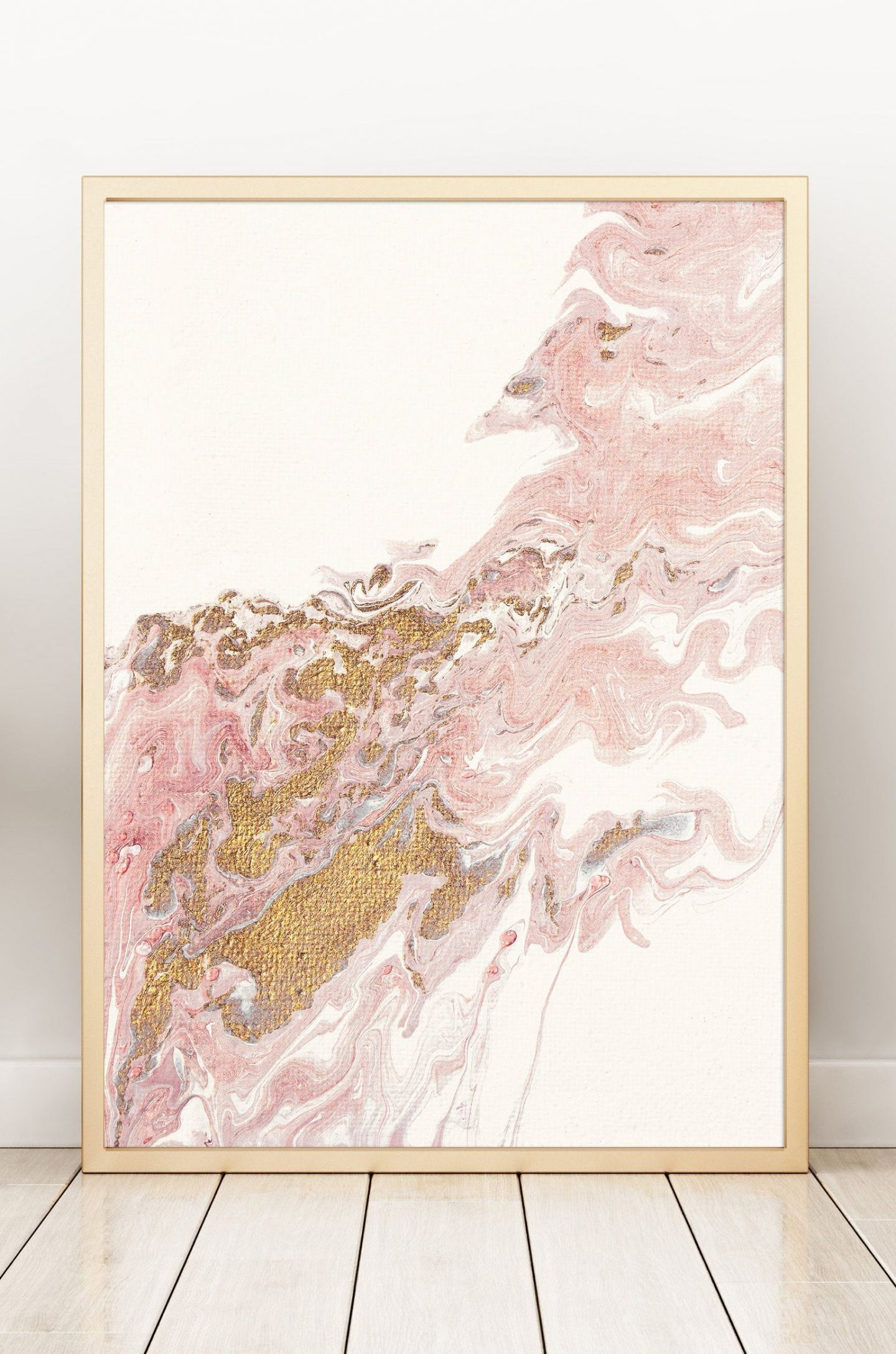 Abstract wall decoration in pink and gold foil