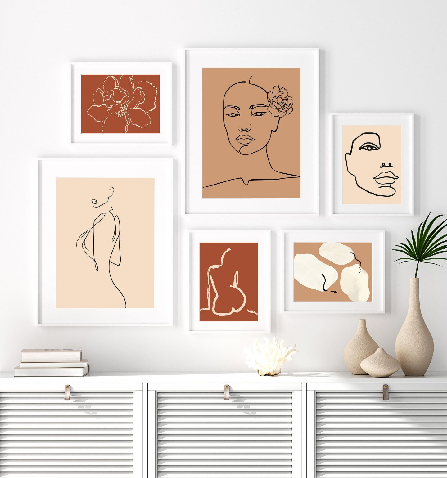 Bohemian wall decor set with female figures in nude and brown tones