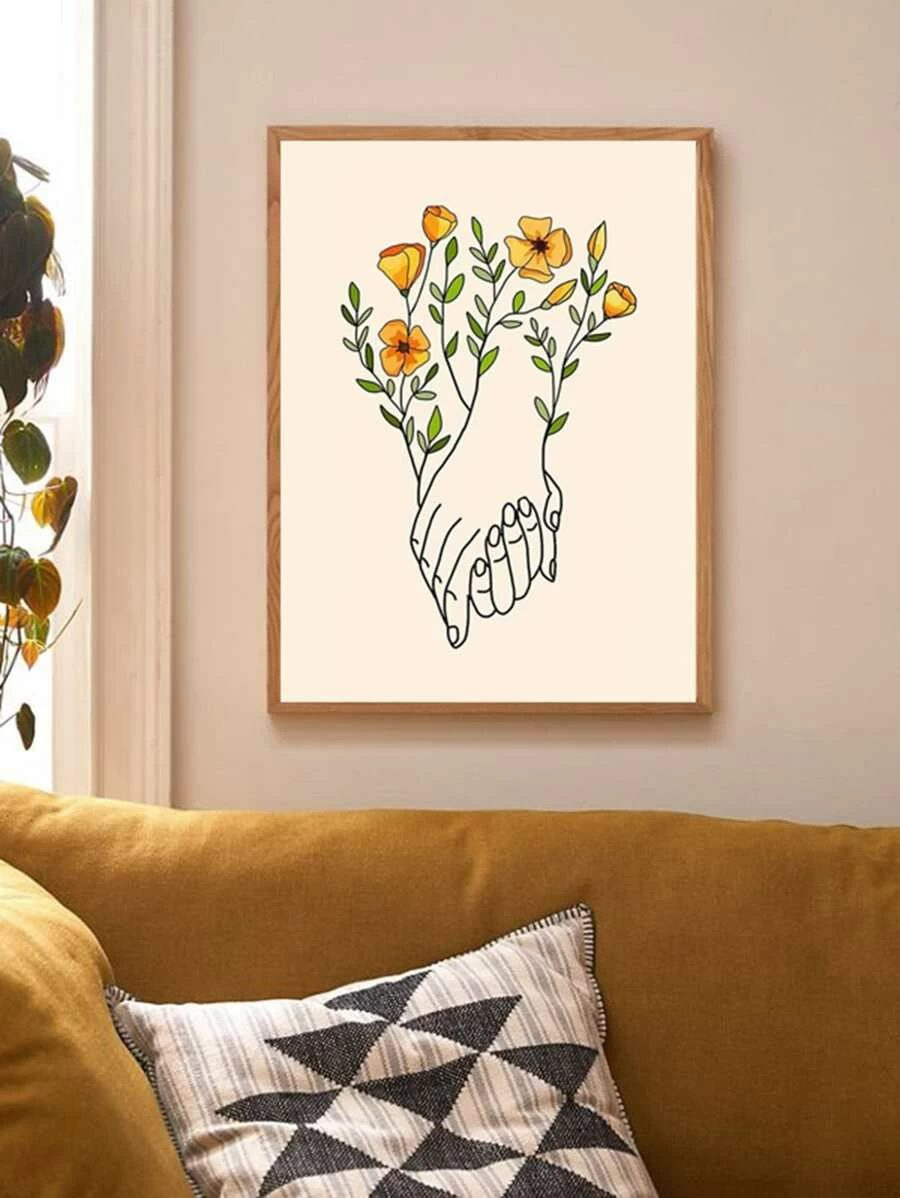 Abstract wall decor with hands and flowers