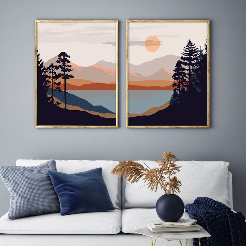 Simple nature wall decoration with mountains and forest