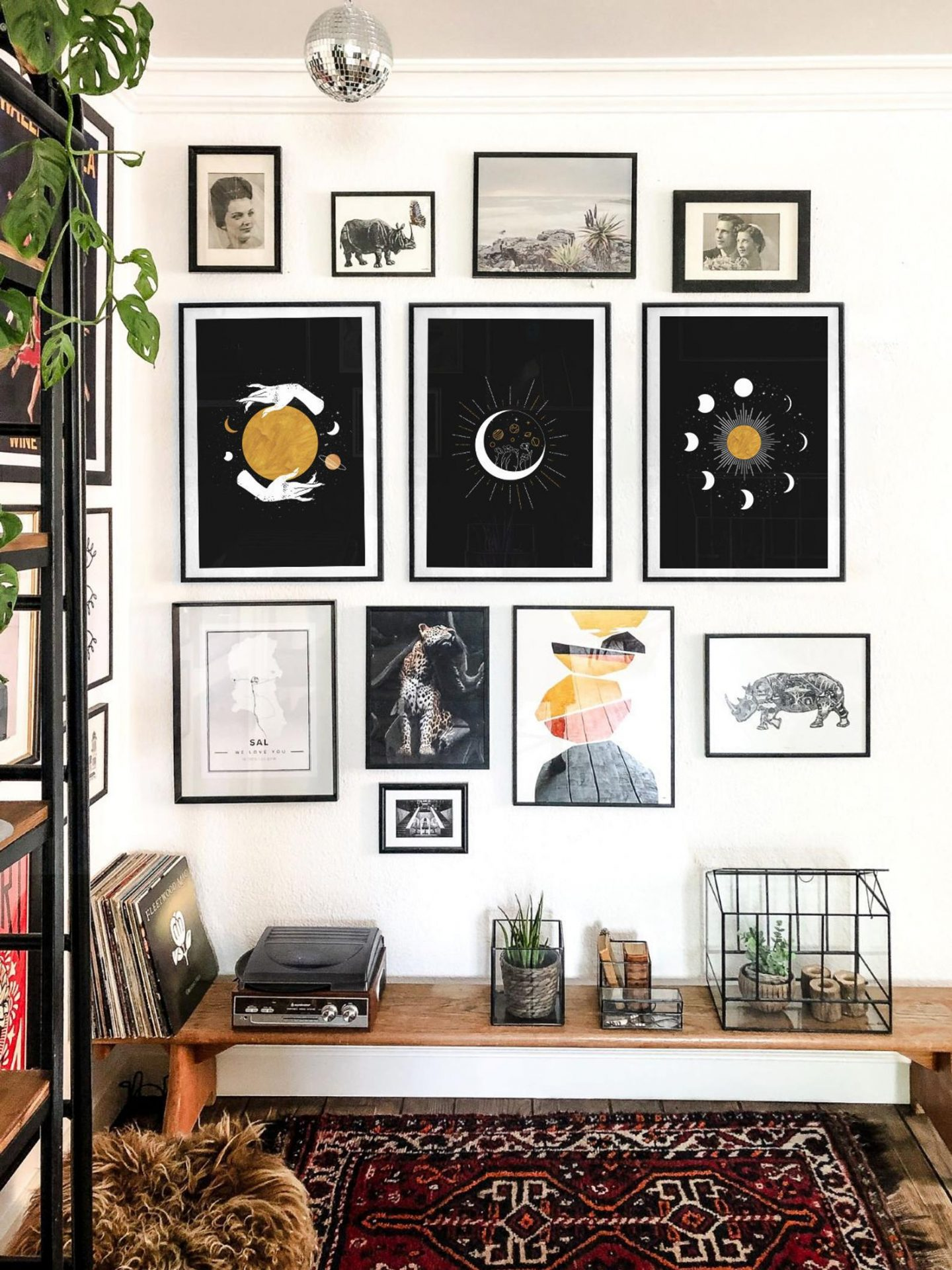 Black sky wall decor poster set with moon and stars