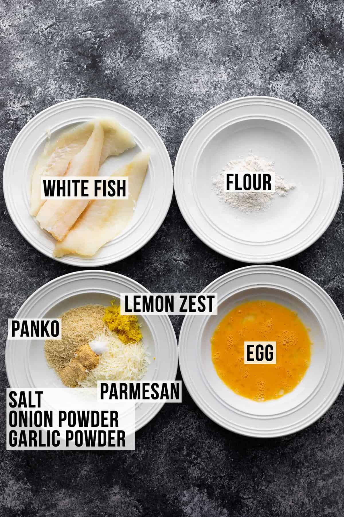 Ingredients for deep-fried fish (with label)