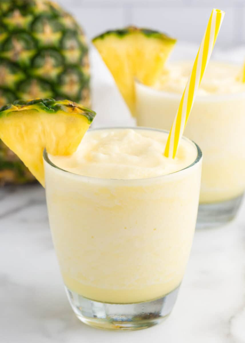 Pina Colada smoothie in clear glasses