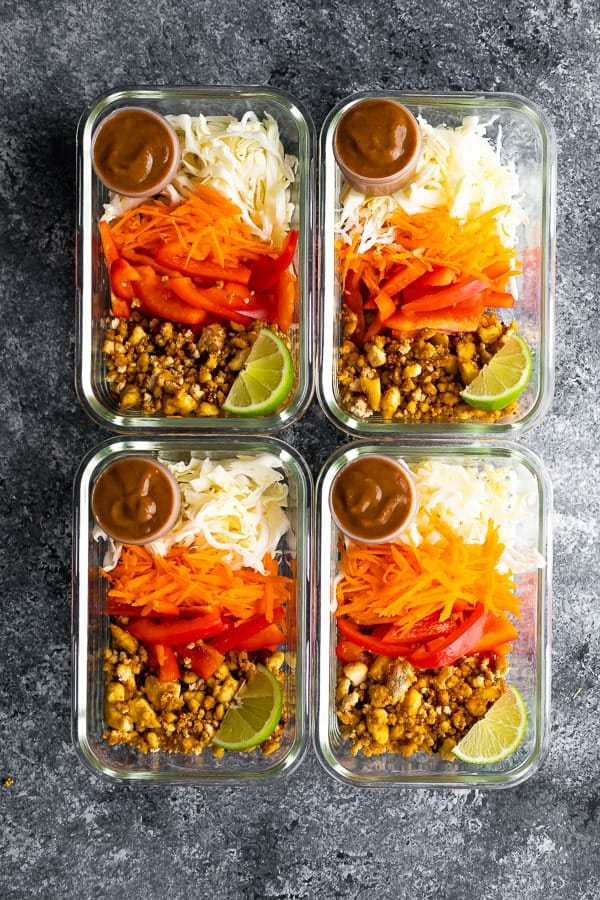Vegan spring roll bowl meal prep mounted on meal prep containers