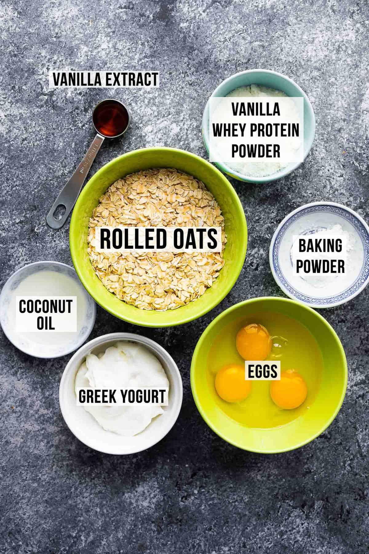 Ingredients for making protein pancakes (with label)