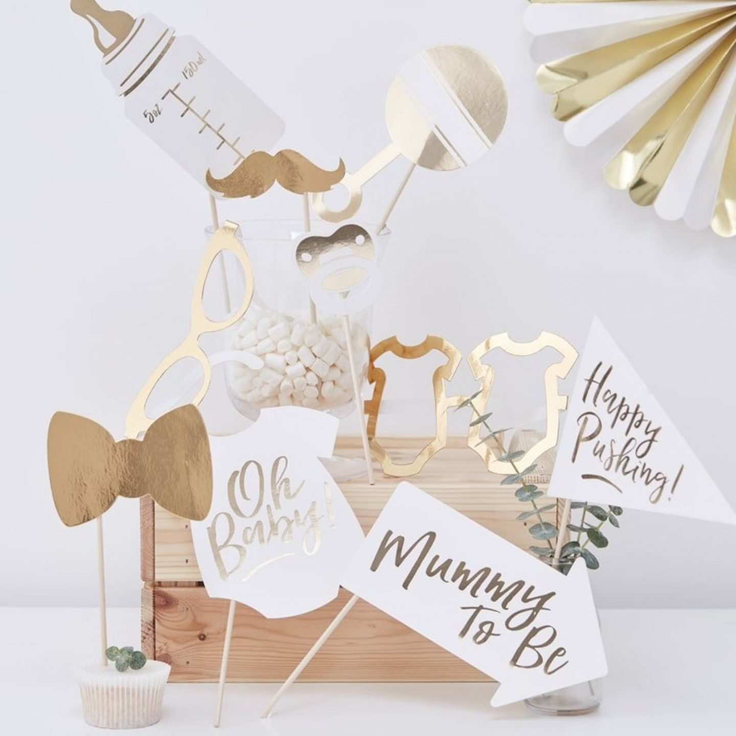 Baby shower photo props in white and gold
