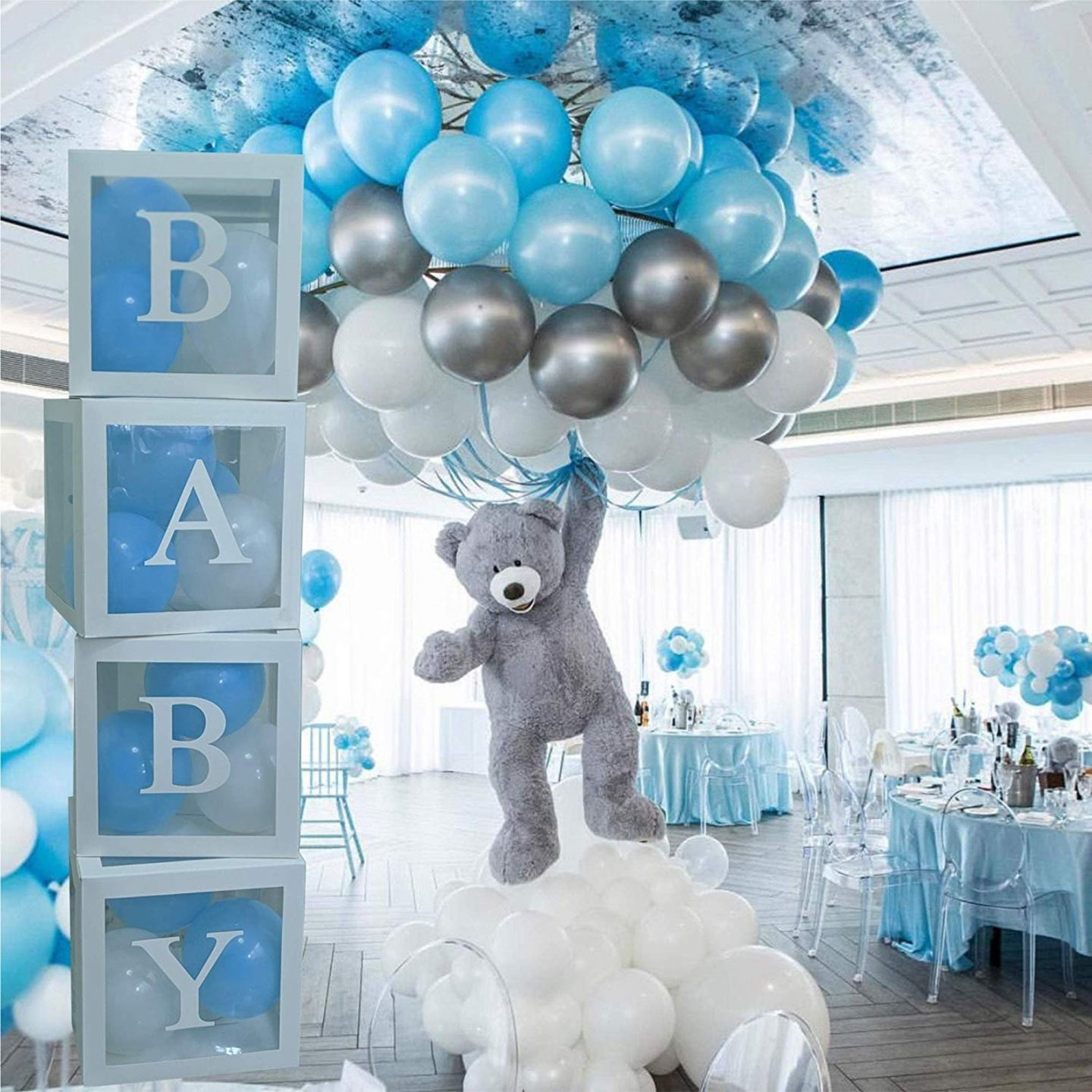 Sweet blue baby shower balloons and special boxes