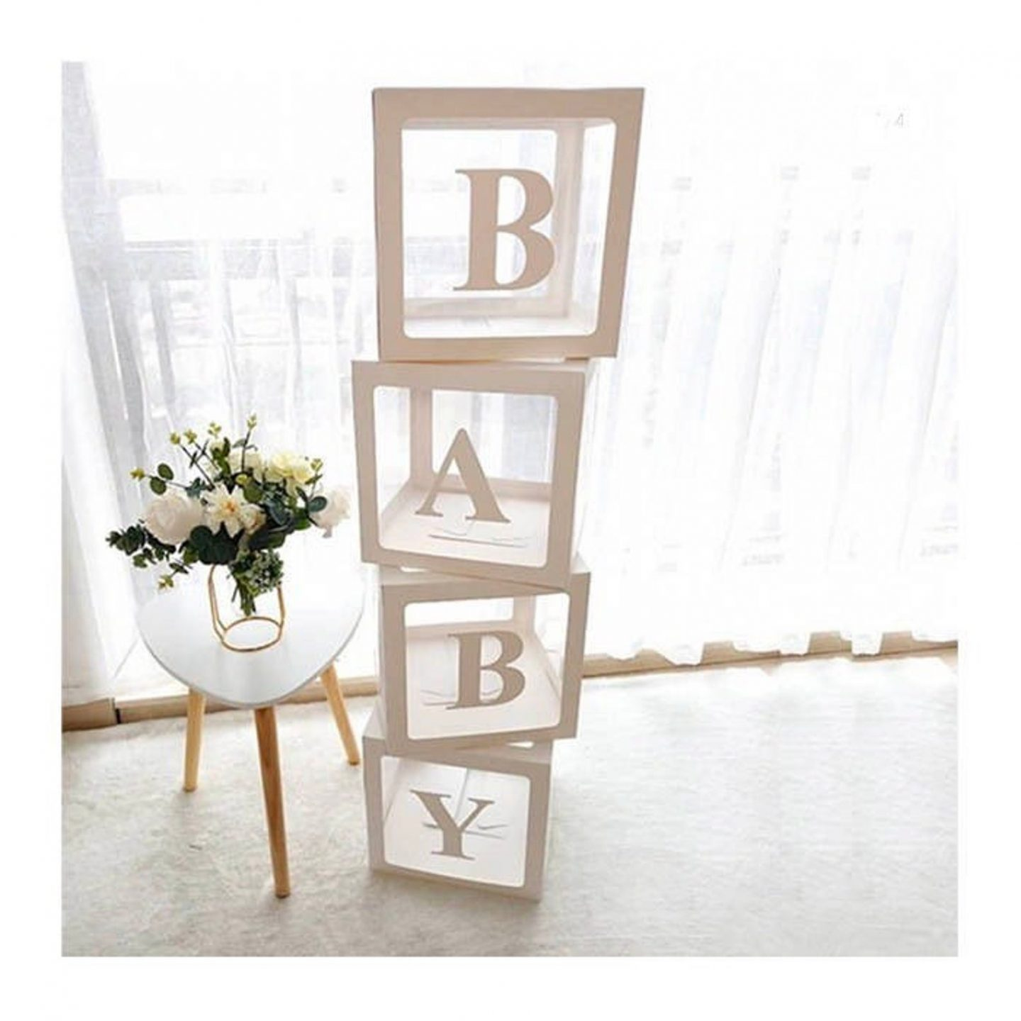 White transparent BABY boxes for the baby shower