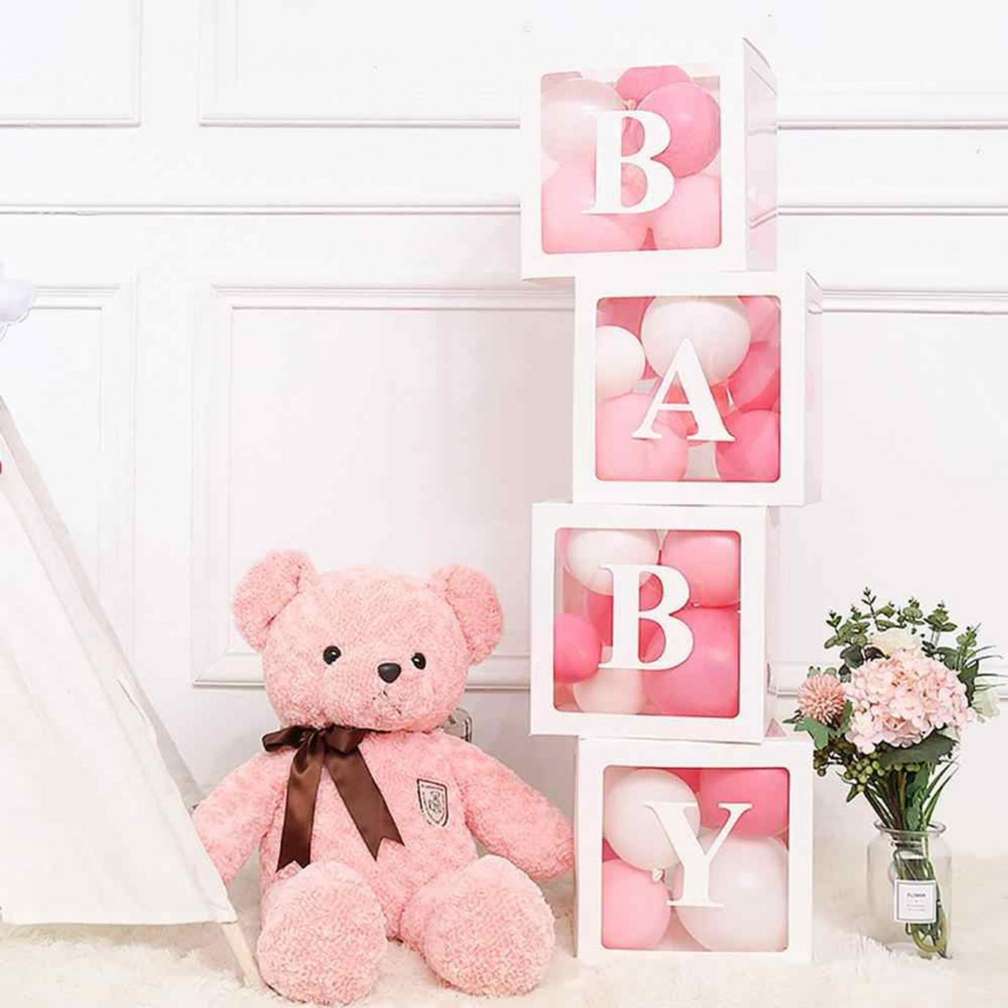 Pink teddy bear with transparent BABY boxes