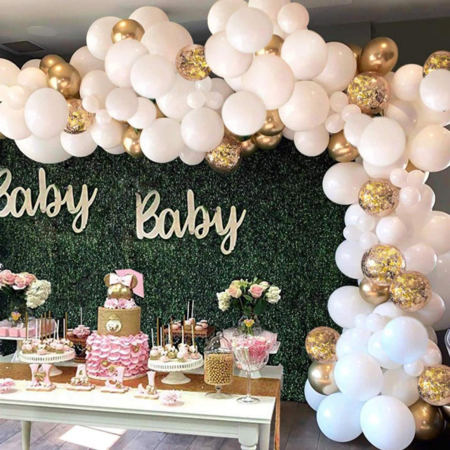 Baby shower balloons in pink and gold
