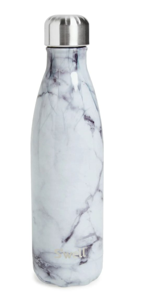 Swell White Marble Insulated Stainless Steel Water Bottle