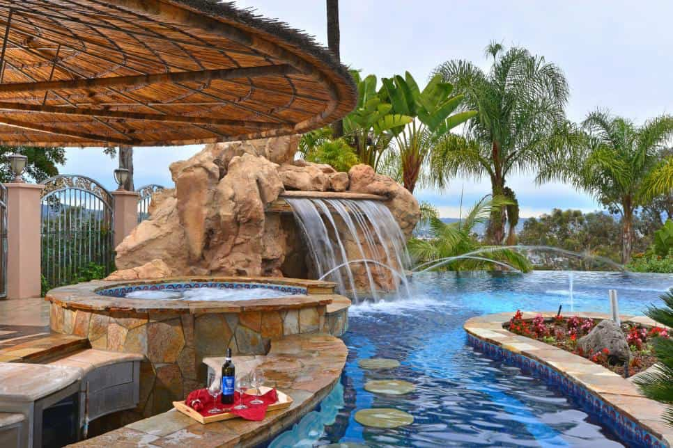 Mediterranean style swimming pool-with-bar-with bar