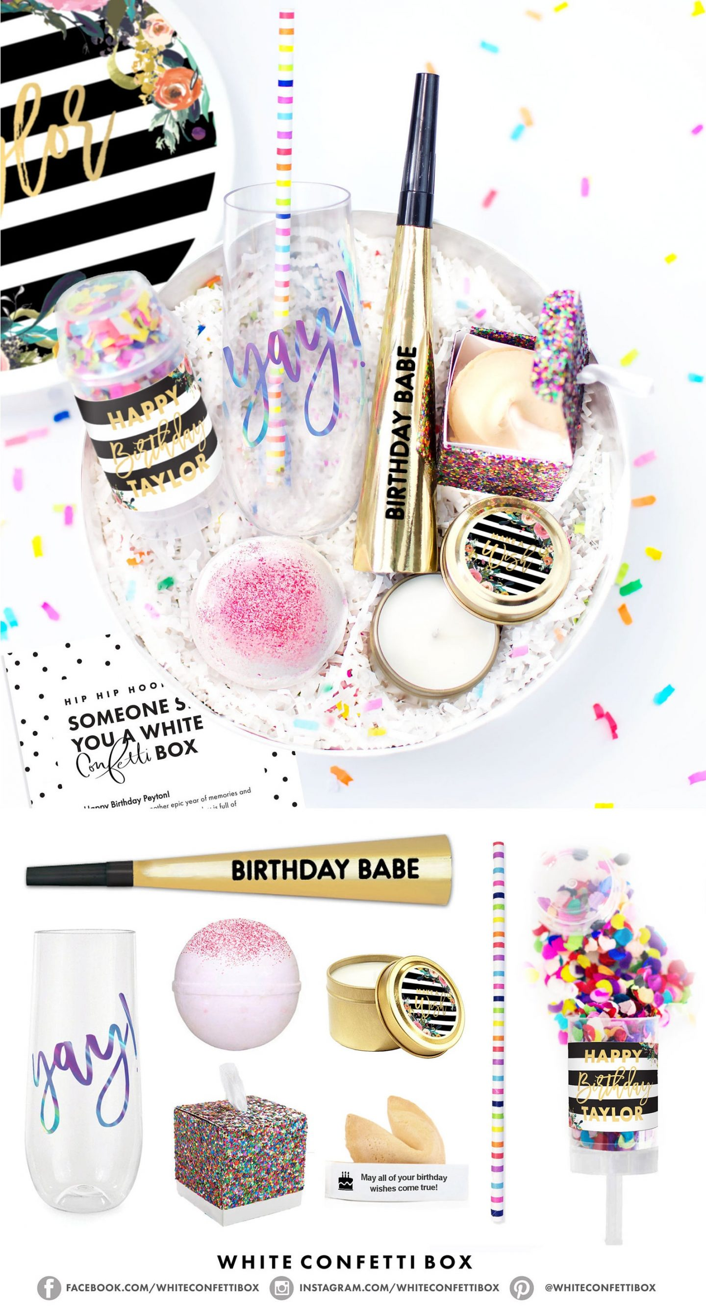 Sweet birthday party bowls with confetti, glasses and poppers