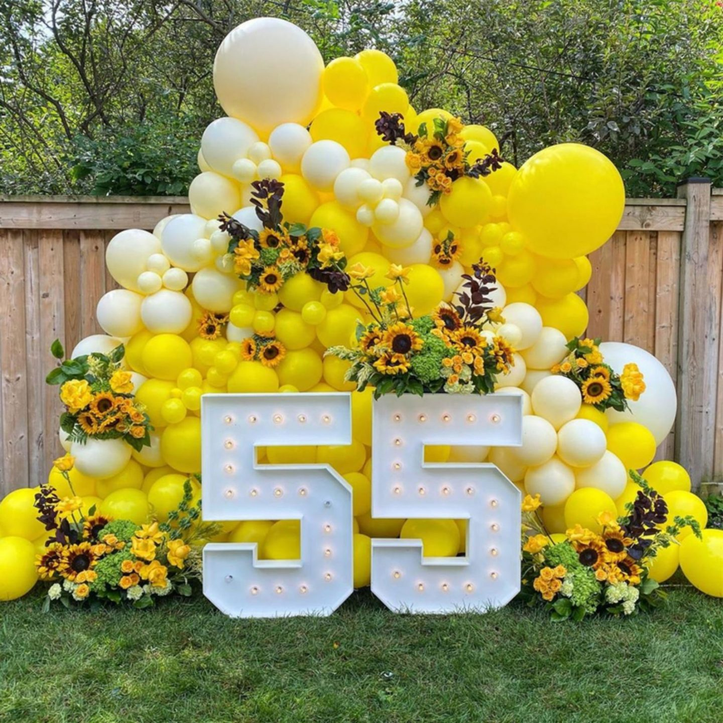 Birthday sign with fancy yellow balloons and numbers