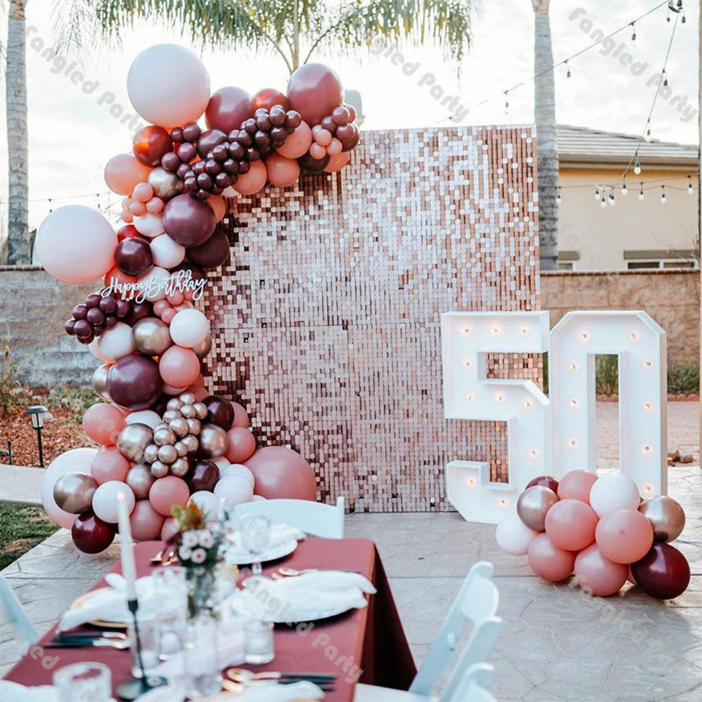 Pink, purple and rose gold balloons and specially marked decorations for birthday parties