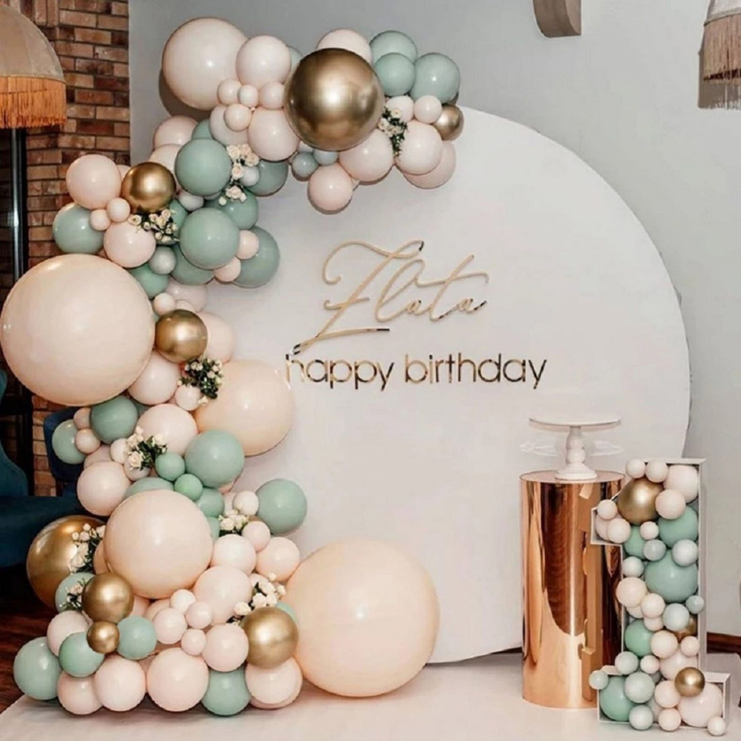 Cream and sage green birthday balloons with gold details