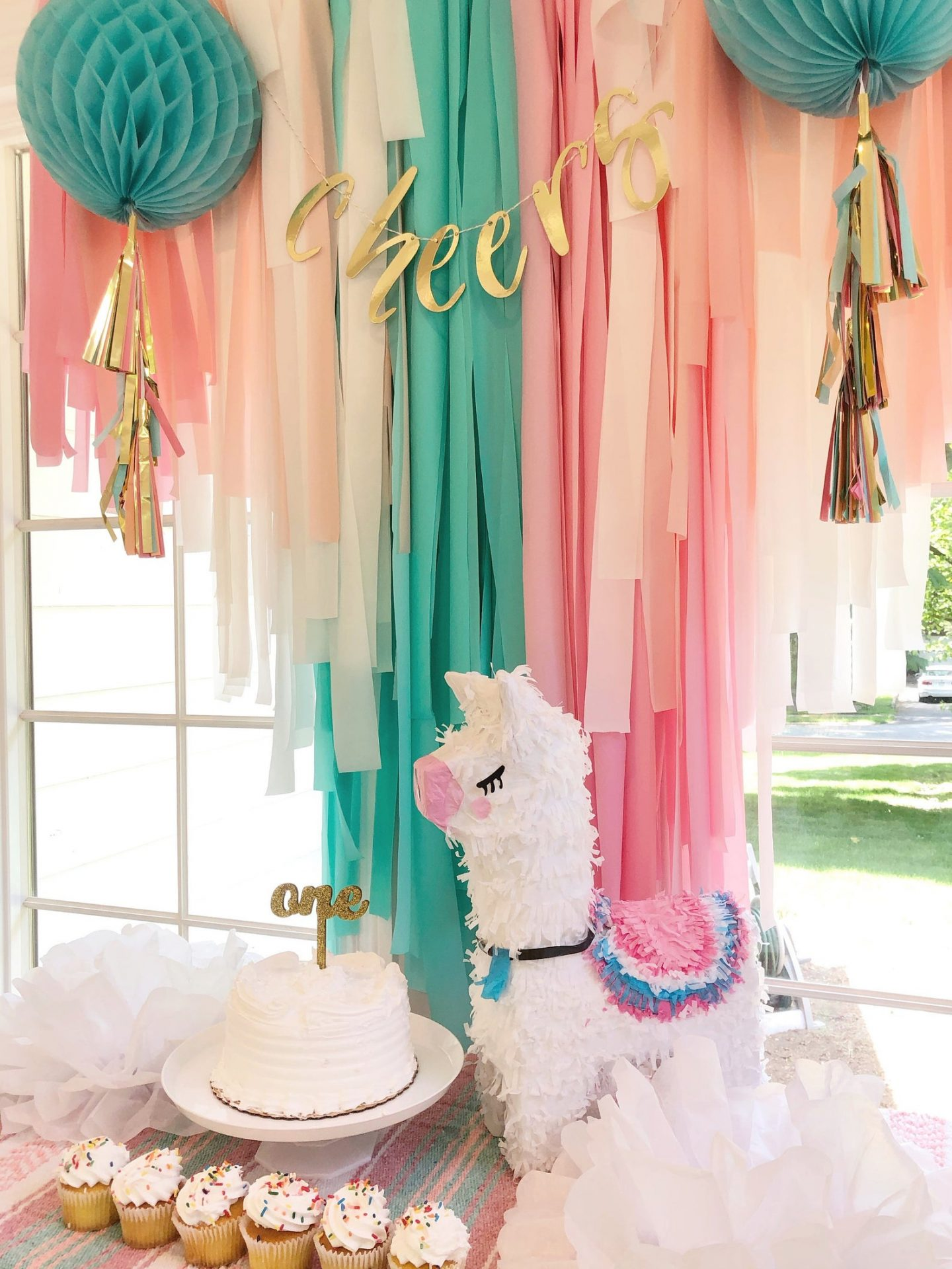 Turquoise-pink llama fringe curtain for a birthday party