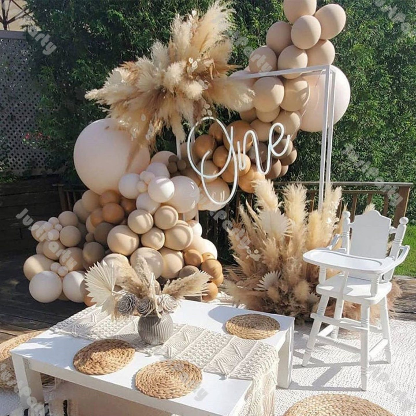 Matte cream and brown birthday balloons and party decorations