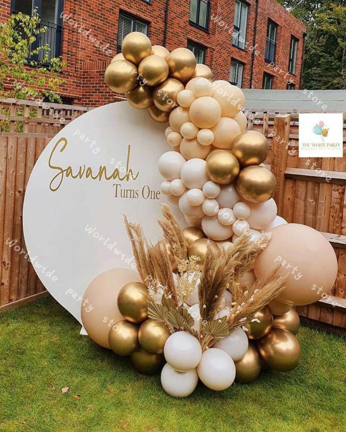 Ombre cream, brown and gold birthday balloons and party decorations