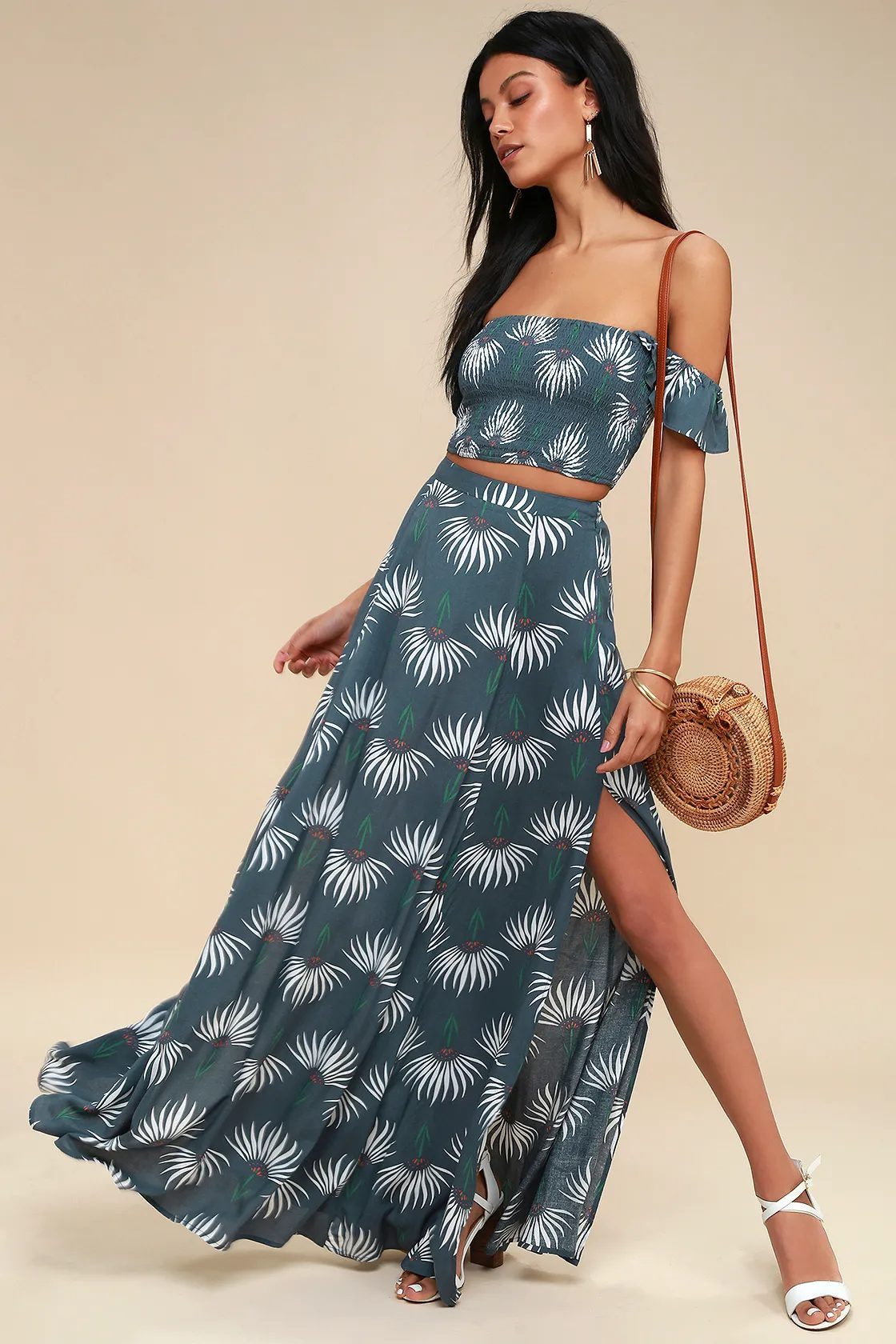 Two-piece maxi skirt set in dusty blue