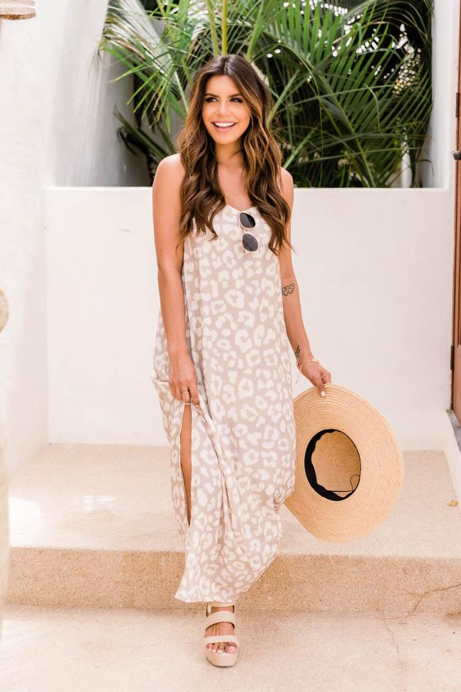 Nude white maxi dress with leopard print for the summer