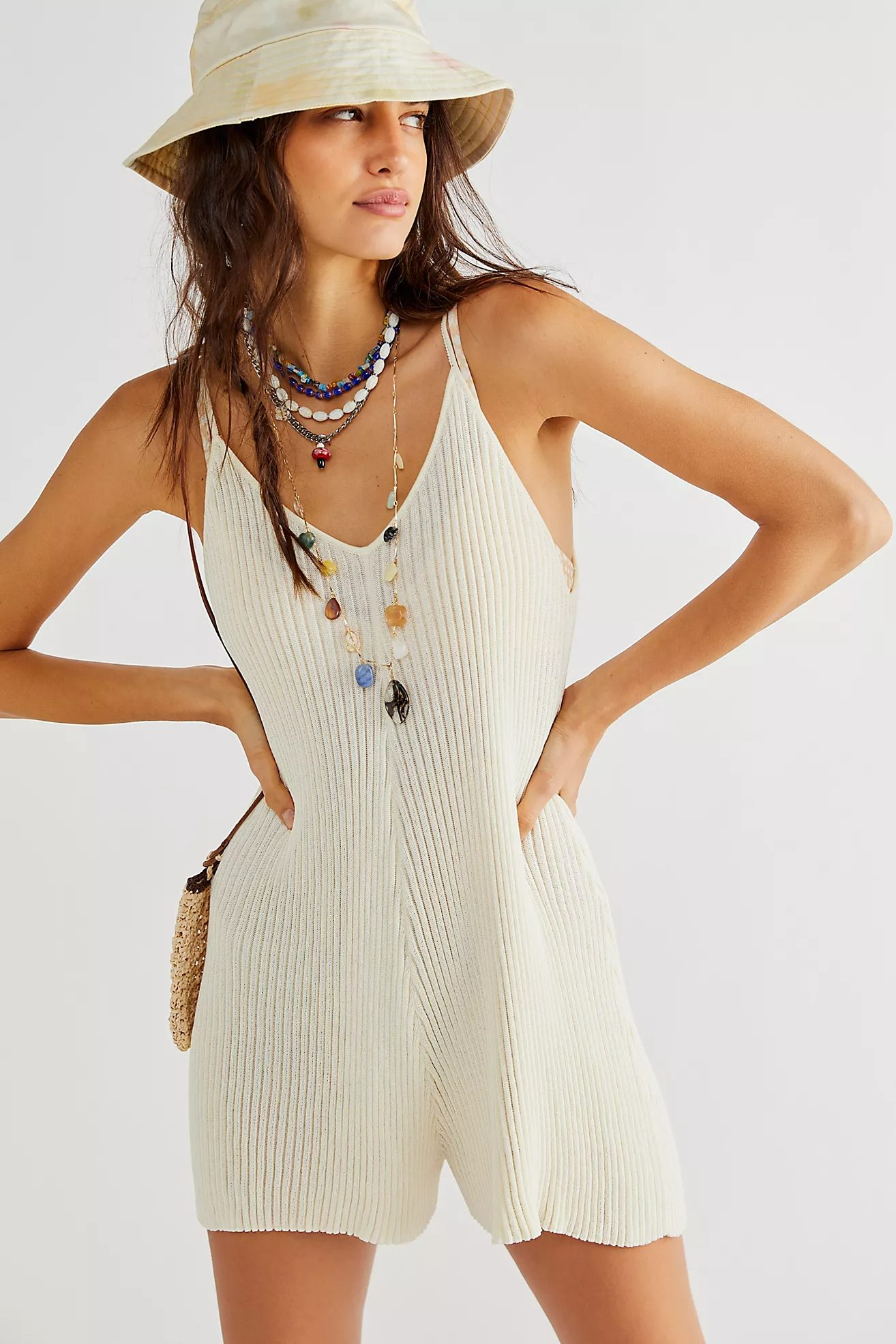White knitted overall