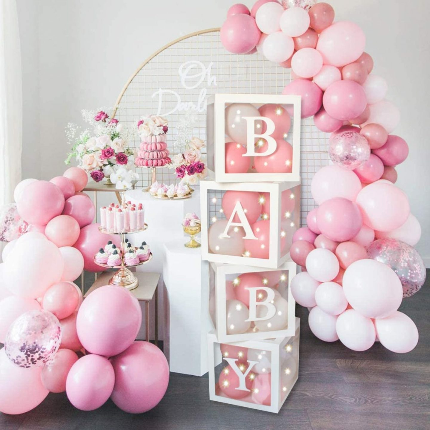 Sweet pink baby shower balloons and special box