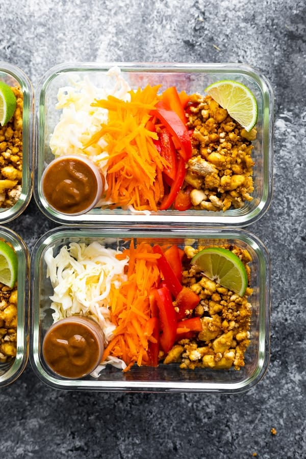 Vegan spring roll bowl meal preparation in meal prep containers