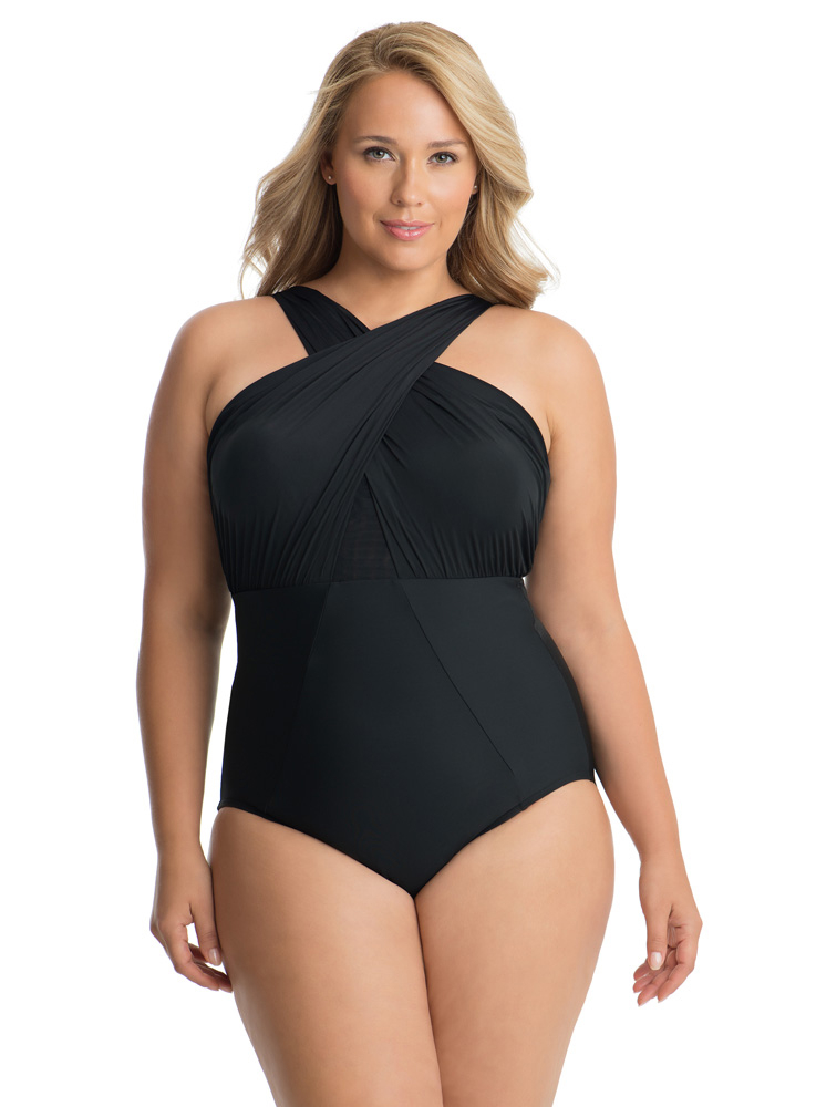 Black swimsuit for sagging breasts