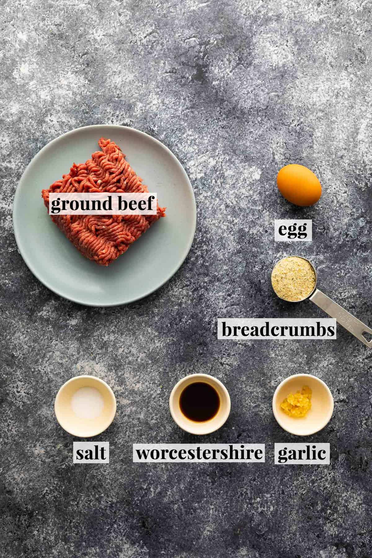 Ingredients for a fried burger (with label)
