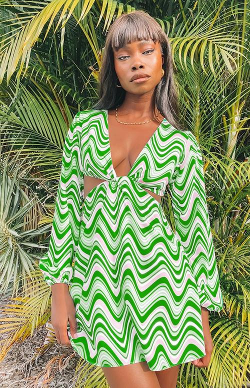 psychedelic ribbed green dress for the y2k outfit