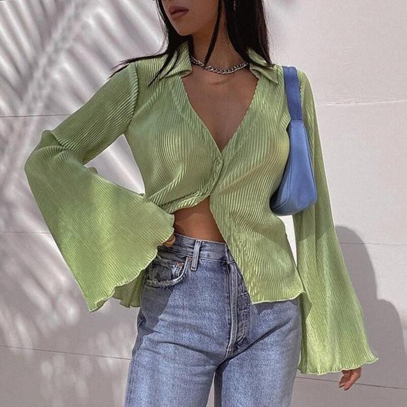 Flowing sage green top for Y2K outfits