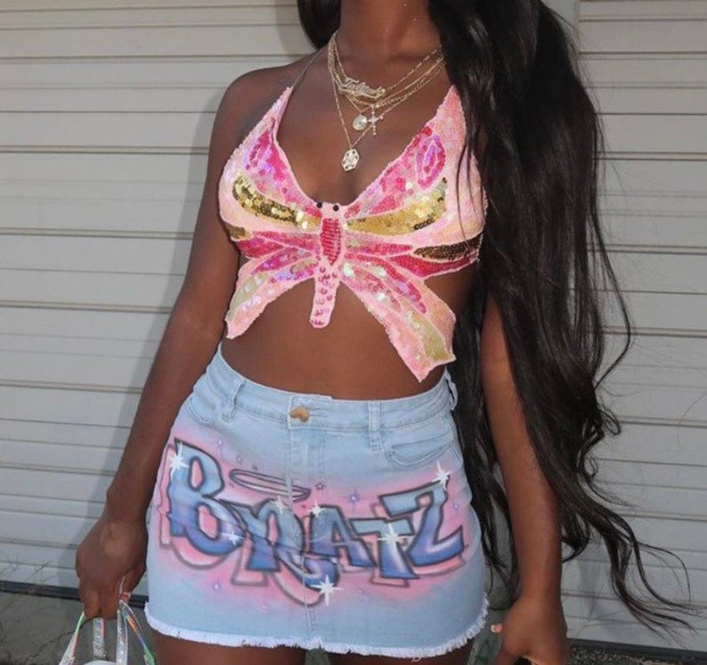 Butterfly sequin top for y2k clothing